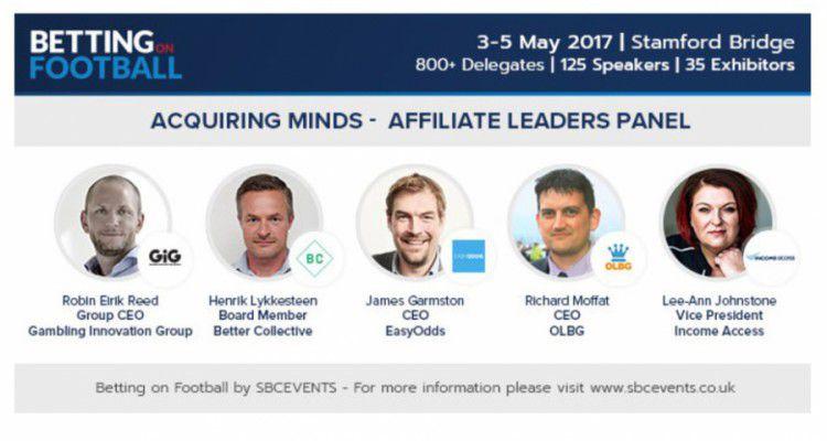 Представители GIG, Better Collective, Easyodds и OLBG расскажут об аффилированном маркетинге на Betting on Football 2017