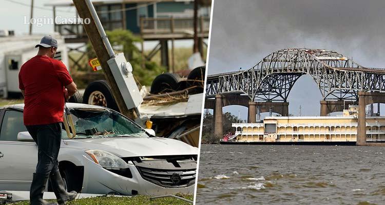 Ураган в США снес речное казино и спровоцировал утечку химикатов