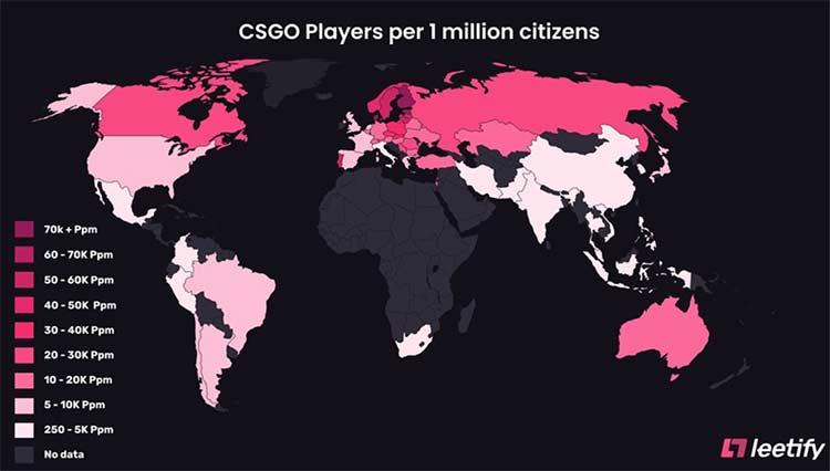на каждый миллион жителей страны приходится свыше 21,7 тыс. поклонников CS:GO